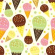 Stock Vector: Seamless pattern of ice cream