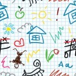 Vettoriale Stock : Baby school seamless pattern