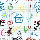 Modello senza soluzione di continuità di scuola bambino — Vettoriale Stock