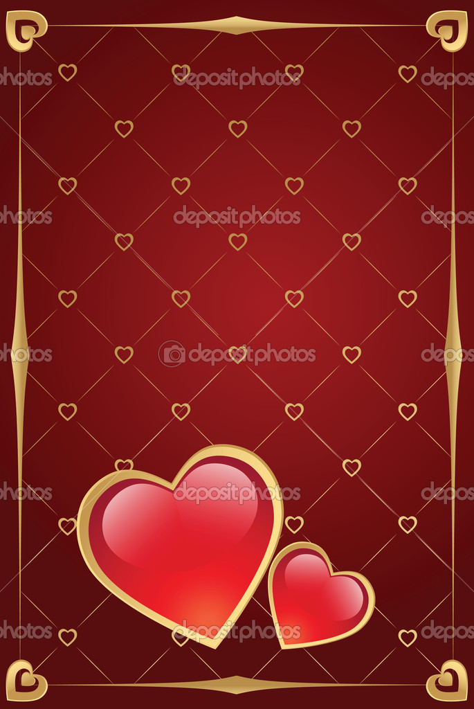 Valentine's day vector background with heart and gold border — Stock vektor #1591738