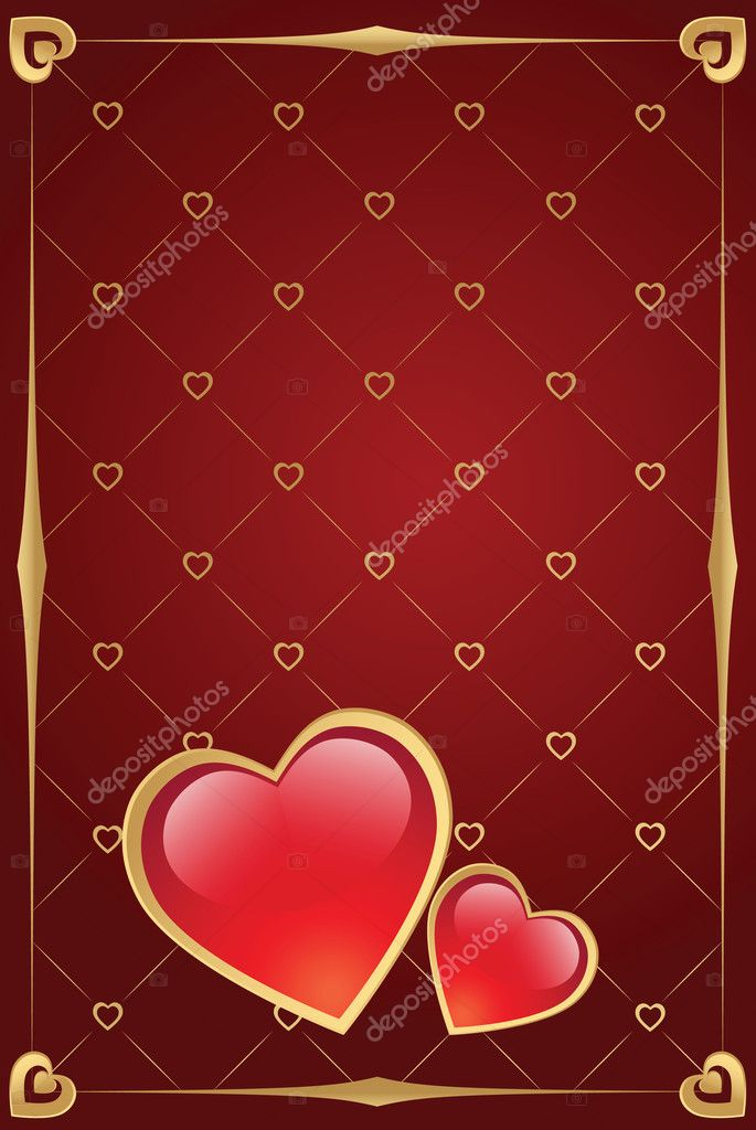 Valentine's day vector background with heart and gold border — ベクター素材ストック #1591738