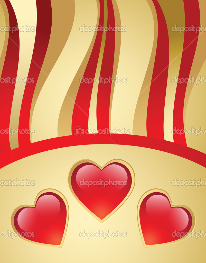Valentine's day gold vector background — Grafika wektorowa #1591747