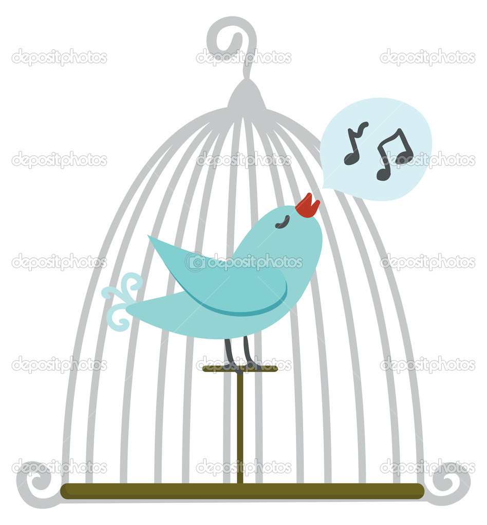 Blue bird in cage. Vector illustration.  — Stock Vector #1591835