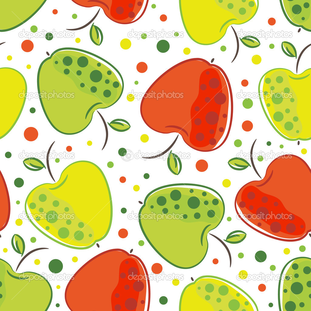 Vector seamless pattern of apple on white background — Stock Vector #1843415