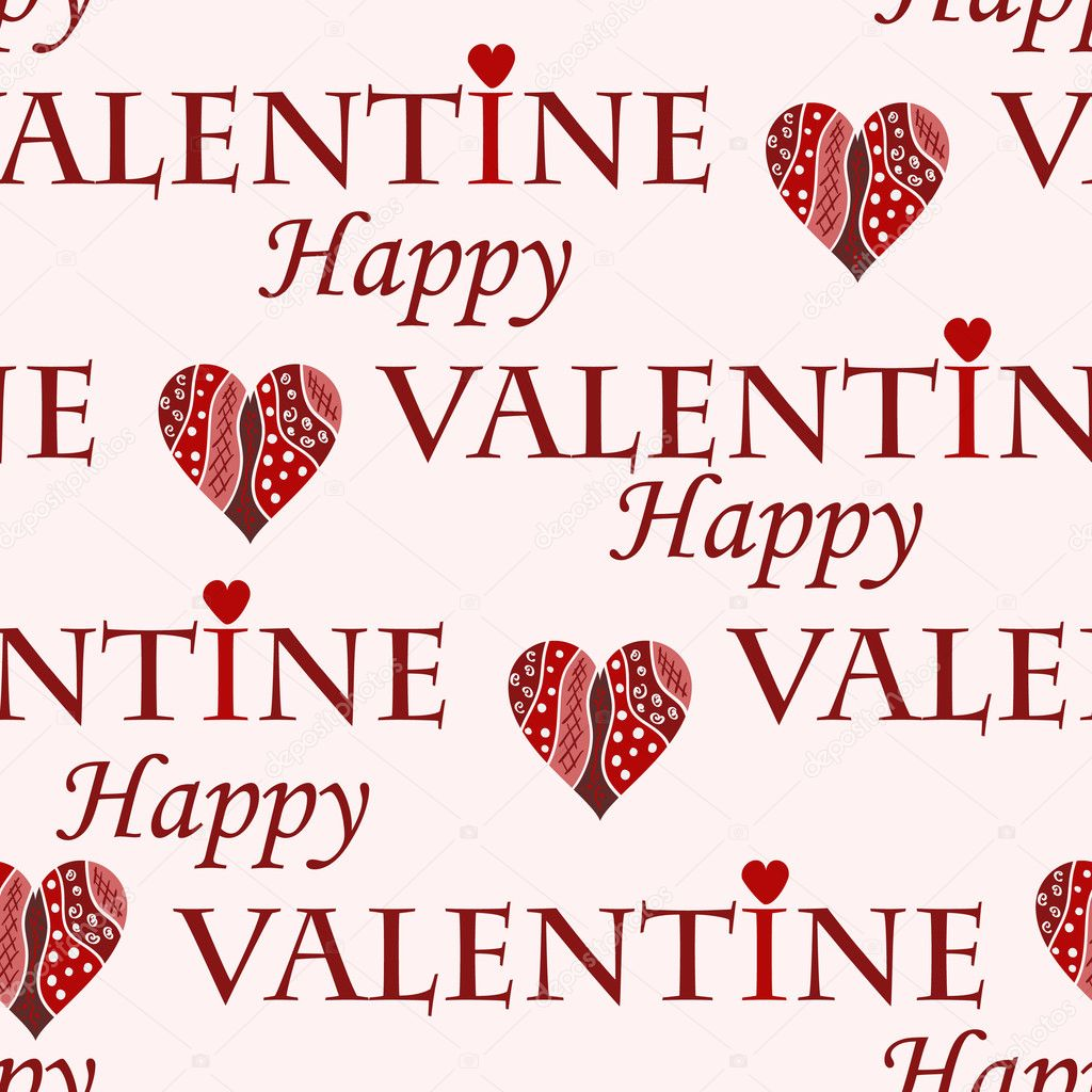 Valentine vector seamless pattern on pink background  Stock Vector #1843805