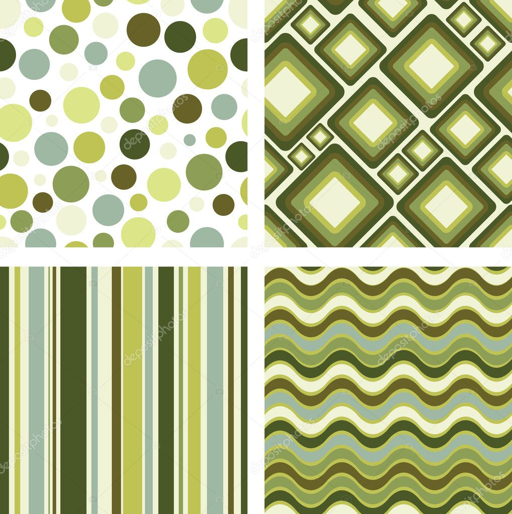 Vector set of four different retro seamless pattern — ベクター素材ストック #1843816