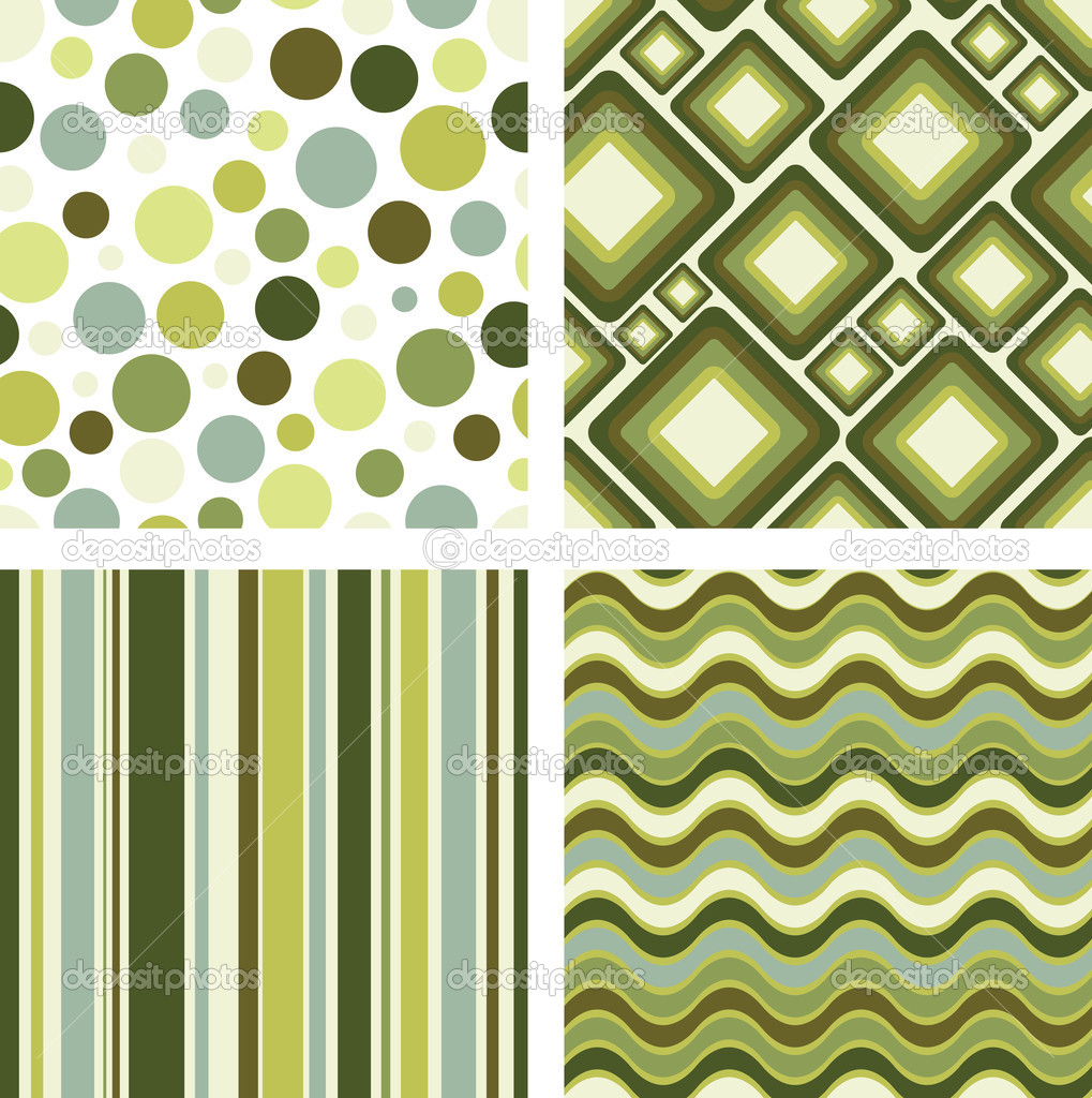 Vector set of four different retro seamless pattern — Grafika wektorowa #1843816