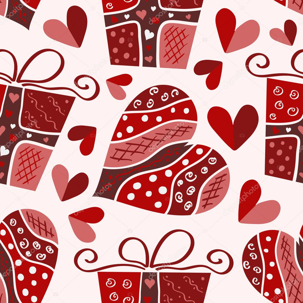 Vector valentine seamless pattern of hearts and gift box  Stockvektor #1844692