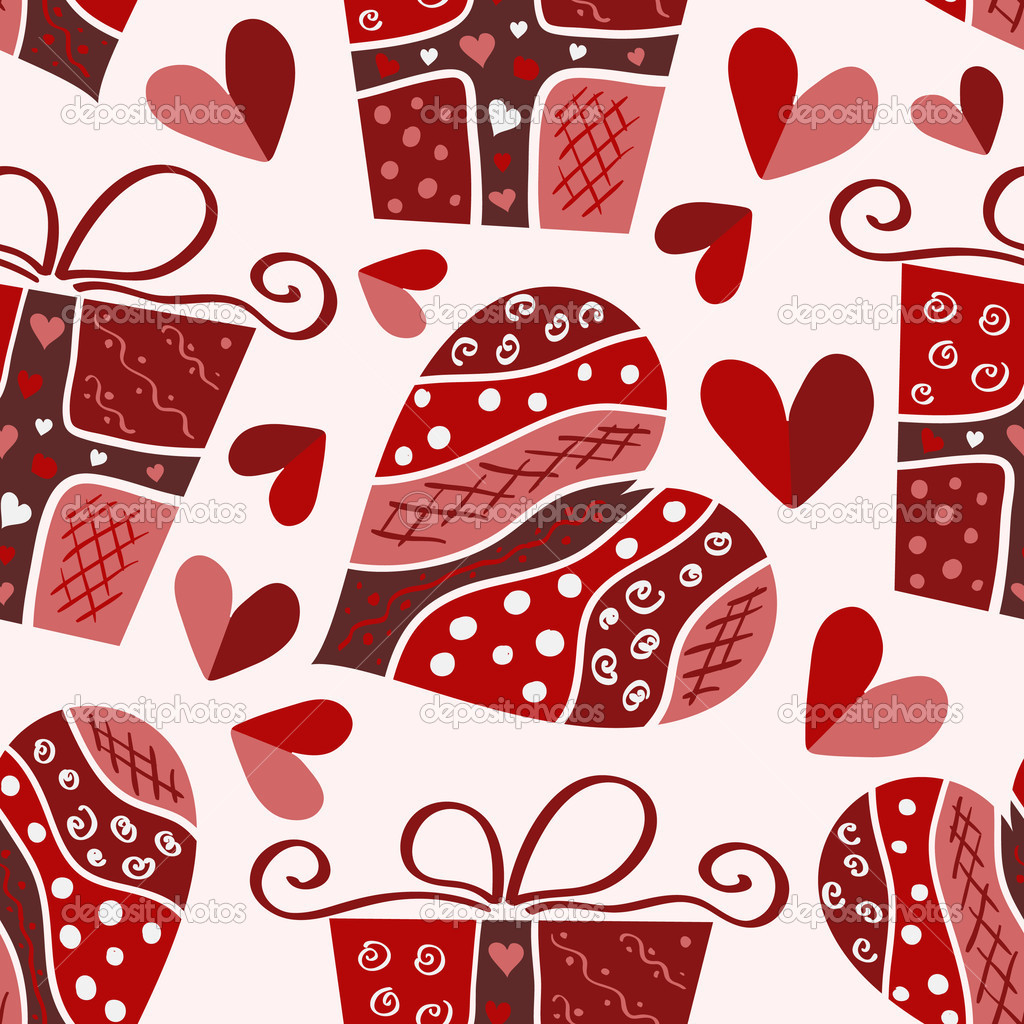 Vector valentine seamless pattern of hearts and gift box — Векторная иллюстрация #1844692
