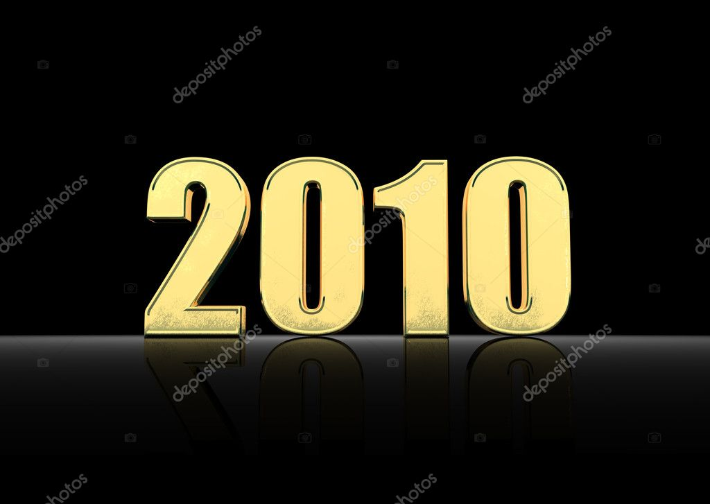 Year 2010 shiny gold in the background 3D rendering text — Stock Photo #1166655