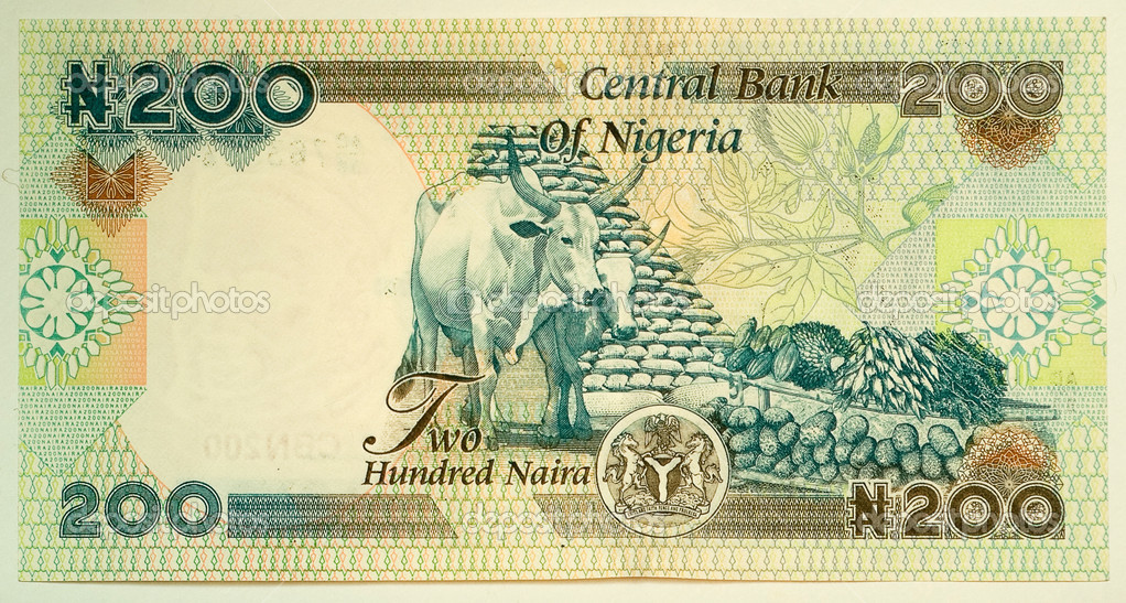 Two hundred naira. The naira is the currency of Nigeria.  Stock Photo #1167679