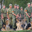 Stock Photo: Group of soldiers with dogs