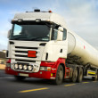 Fuel truck in motion slightly blurred — Stock Photo