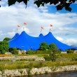 Traveling circus on  the river — Stock Photo