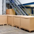 Pallets with cartons in warehouse — Stock Photo