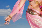 Woman in pink asian dress details — Stock Photo