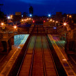 Railway station in the dusk - Stock Photo