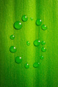 G-shape water drops on green leaf — Stock Photo