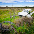 Rusty car in the field - Stock Photo