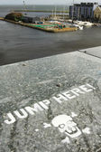 Jump here sign — Stock Photo