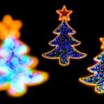 Christmass tree shape lights decorations — Stock Photo