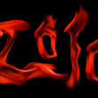 Red 2010 number fire flame imitation — Stock Photo