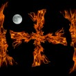 Cros fire flame with full moon,isolated - Foto de Stock