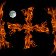 Cros fire flame with full moon,isolated — Stock Photo