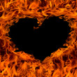 Fire flame background heart shape — Stok fotoğraf