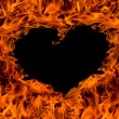 Fire flame background heart shape — Stock Photo