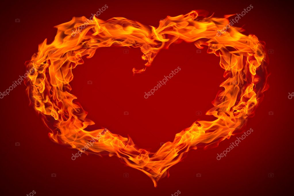 Fire flame heart collage and heart on red background — Stock Photo #1876345