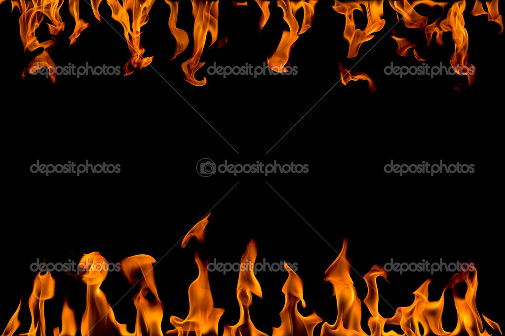 Fire flame abstract collage isolated on black background — Stock Photo #2182151