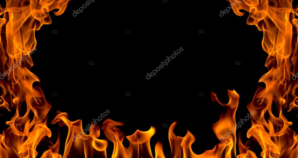 Fire flame abstract collage isolated on black background  Stok fotoraf #2182392