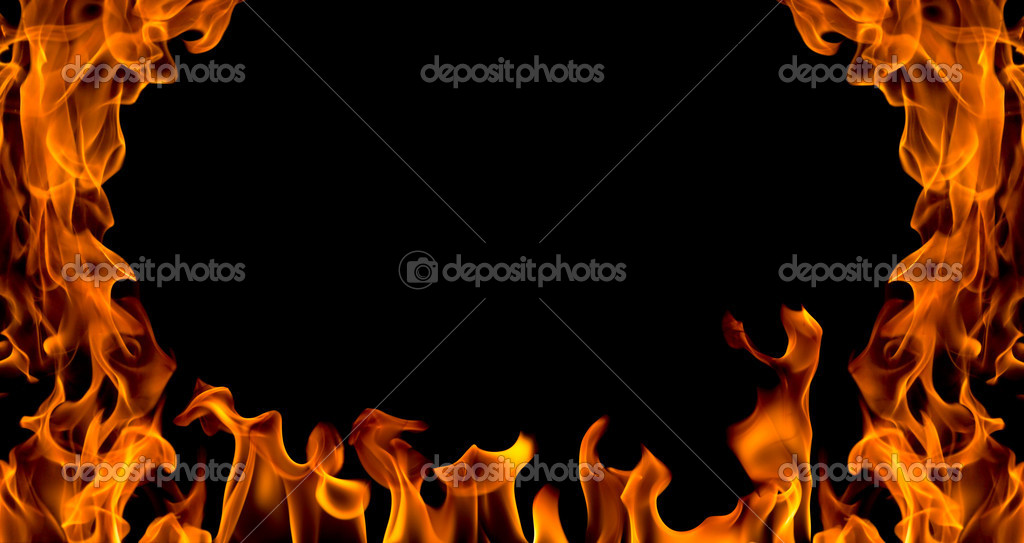 Fire flame abstract collage isolated on black background  Stock Photo #2182392