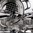 图库照片: Stainless steel cooking pots