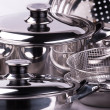 Stainless steel cooking pots — Stock Photo #1182407