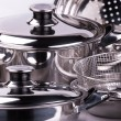 Stainless steel cooking pots — стоковое фото #1182407