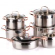 Stainless steel cooking pots — Stock Photo #1182439