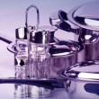 Stockfoto: Stainless steel pepperbox and saltcellar