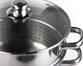 Paslanmaz çelik tencere pişirme — Stok fotoğraf