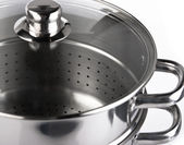 Stainless steel cooking pots — Stock Photo