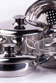 Rostfritt stål matlagning krukor — Stockfoto