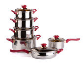 Stainless steel cooking pots — ストック写真