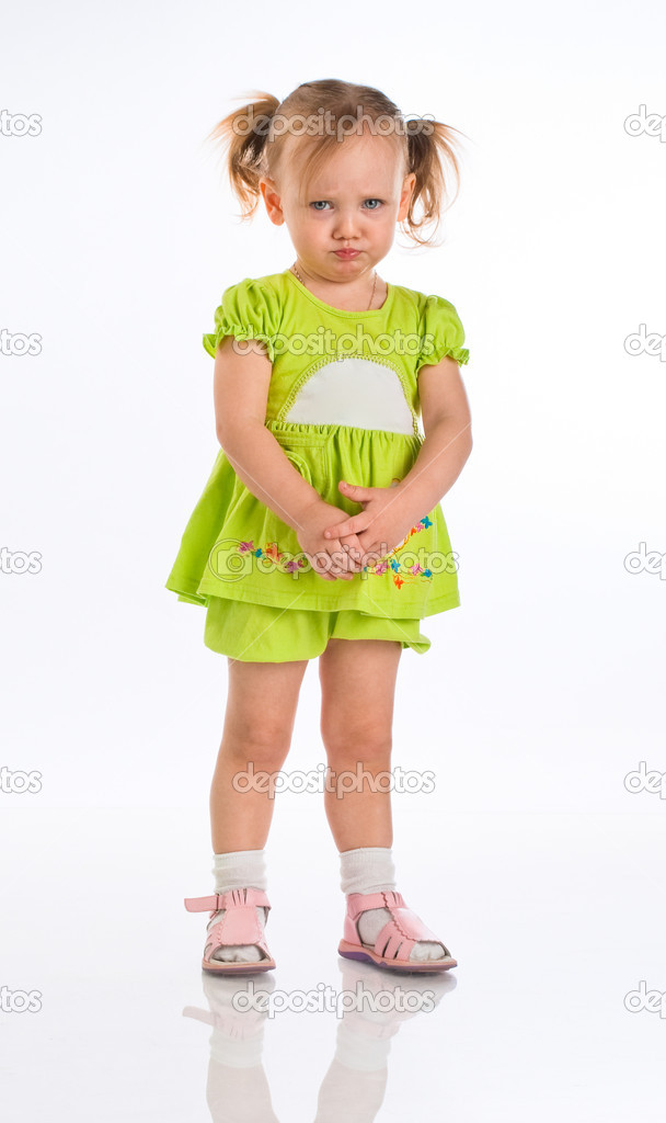 Sad little girl isolated on a white — Foto de Stock   #1182211