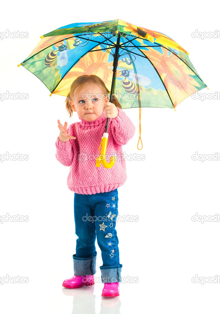 little girl with umbrella — Stock Photo #1182231