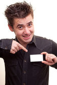 Man holding a blank business card — Stock Photo