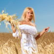 Stock Photo: Portrait of pretty womin field