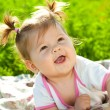 Baby portrait on the grass — Foto Stock