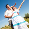 Couple fooling around outdoors — Stock Photo