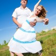 Couple fooling around outdoors — Stock Photo #1219401